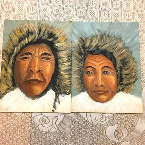 Original Painting of Inuit Couple done in Oils